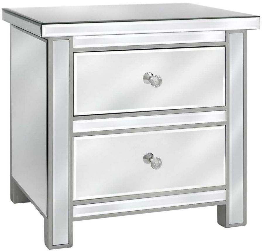 Paolo Mirrored 2 Drawer Chest with Crystal Handles