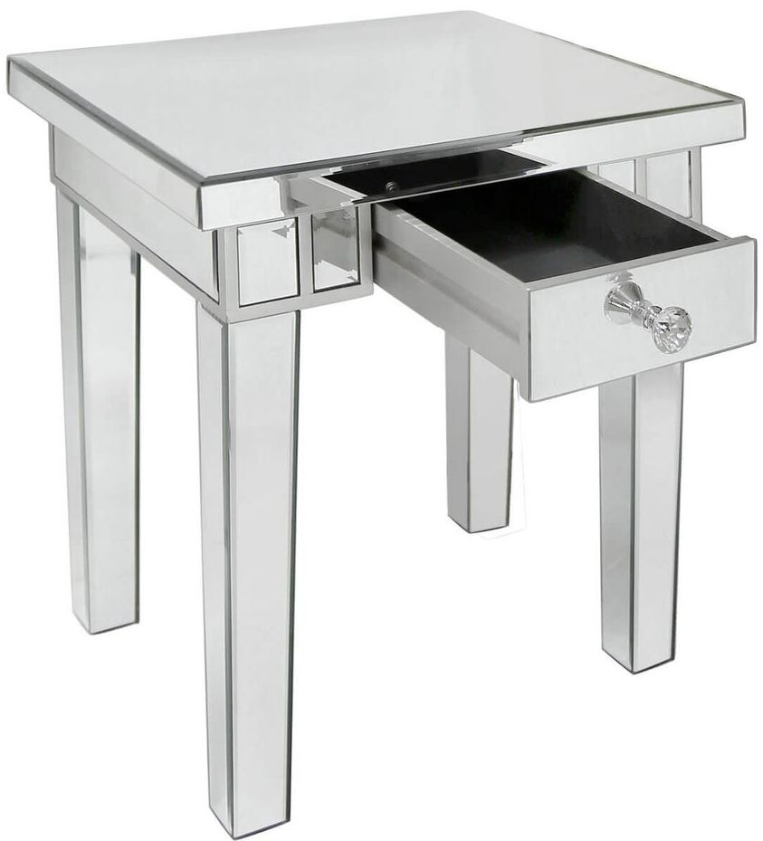 Paolo Mirrored 1 Drawer Lamp Table