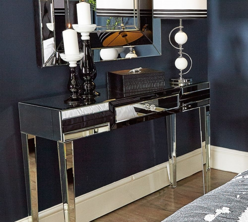 Montague Console Table - Black Mirrored