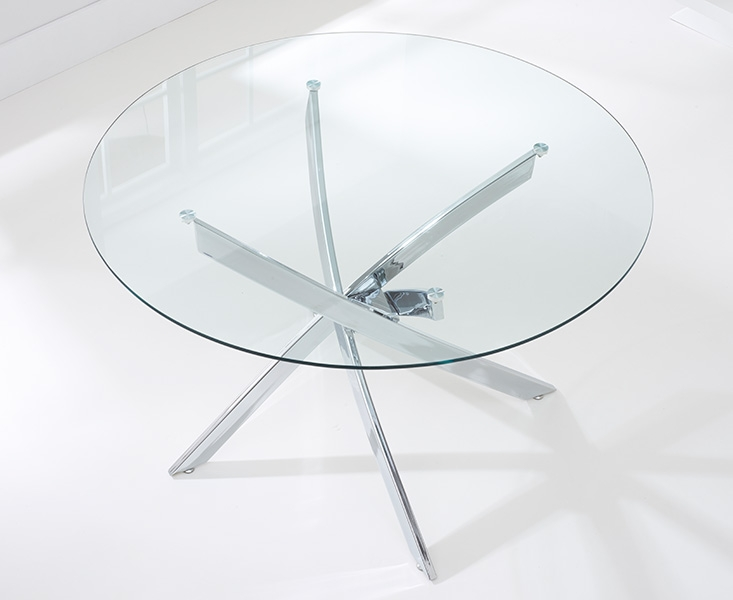 Barron Glass Round Large Dining Table and 4 Chairs - Chrome and Brown