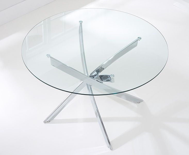 Barron Glass Round Large Dining Table and 4 Chairs - Chrome and Cream