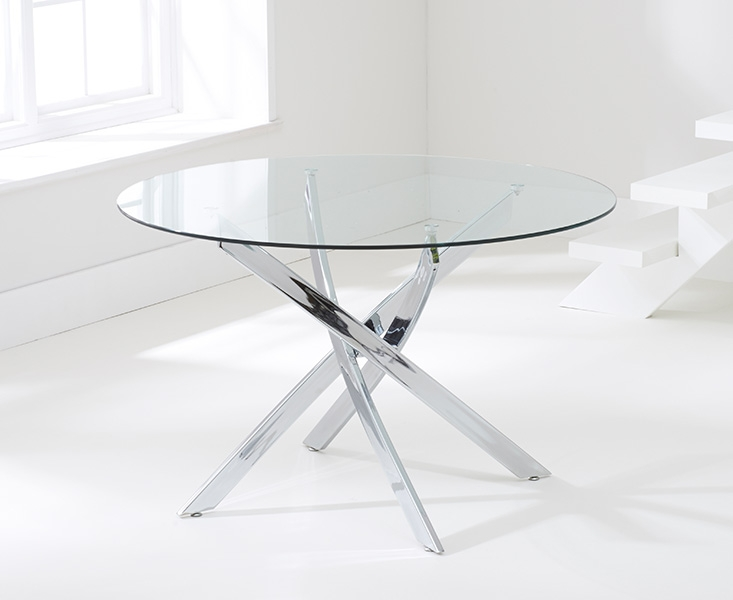 Barron Glass Round Large Dining Table and 4 Chairs - Chrome and Grey