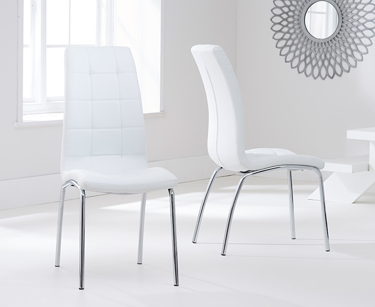 Barron Glass Round Large Dining Table and 4 Chairs - Chrome and White