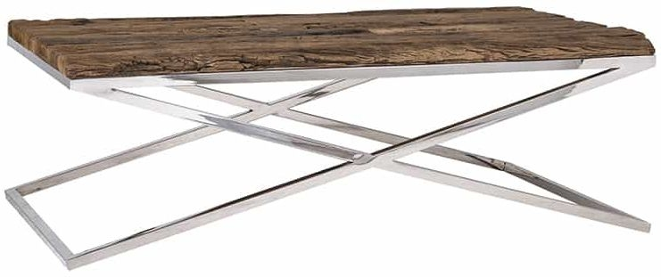 Rustic Sleeper Wood and Silver Coffee Table - 130cm x 80cm