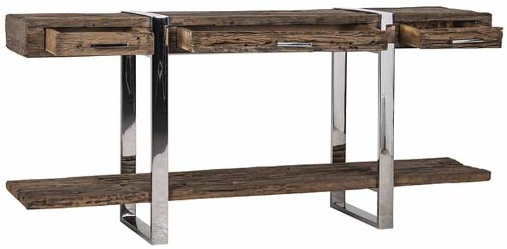 Rustic Sleeper Wood Sideboard with Chrome Stainless Steel Frame