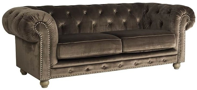 Lustre 3 Seater Fabric Sofa with Silver and Bronze Nails