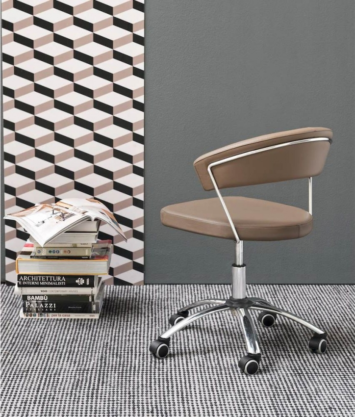 Connubia New York Upholstered Leather and Metal Swivel Office Chair