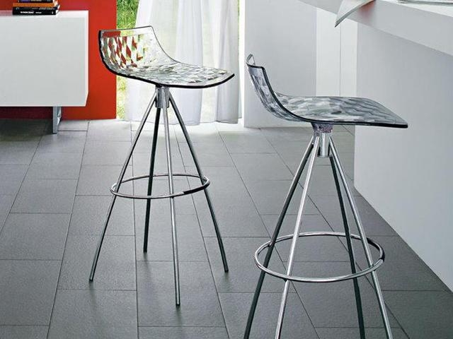 Connubia Ice Metal and Technopolymer Bar Stool with Footrest CB1050