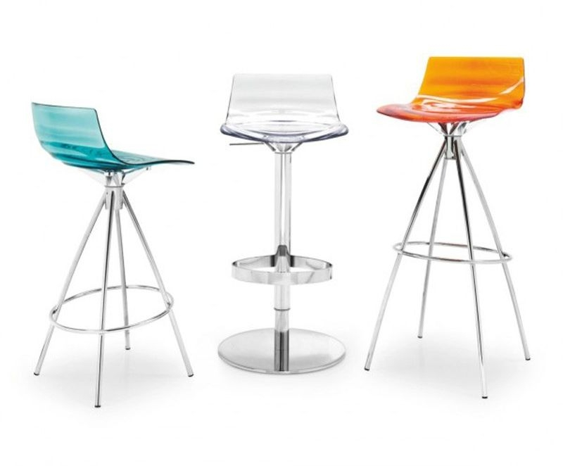 Connubia Leau Metal and Technopolymer High Bar Stool with Footrest