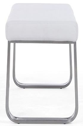 Airy Faux Leather Small Bench - White