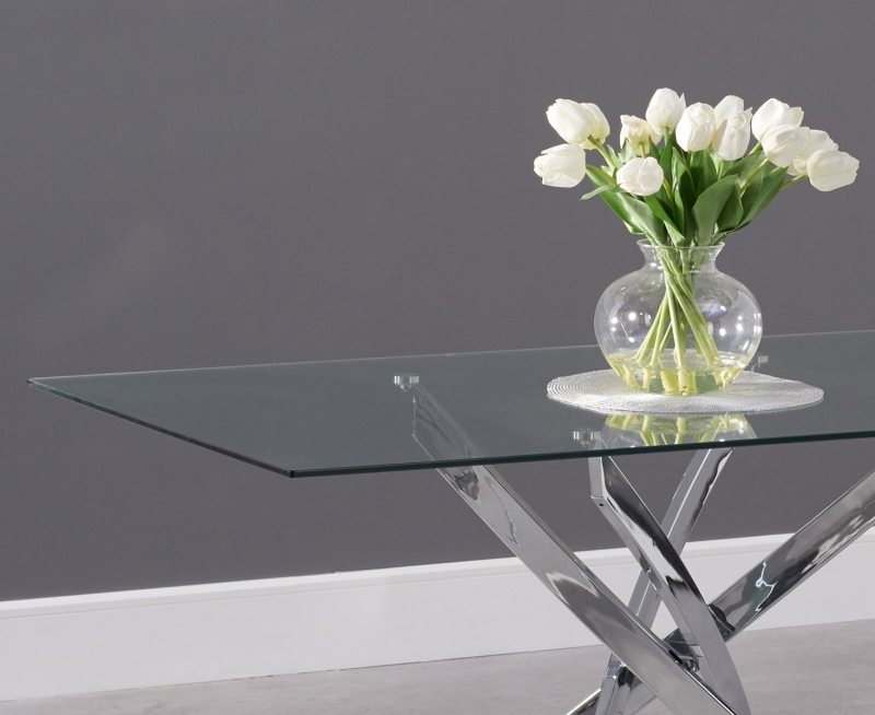 Barron Dining Table - Glass and Chrome