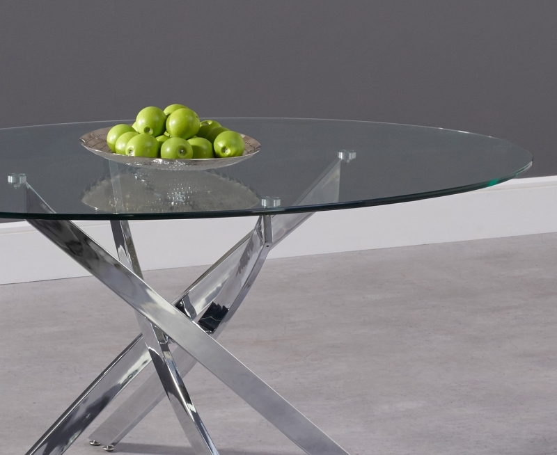 Barron Oval Dining Table - Glass and Chrome