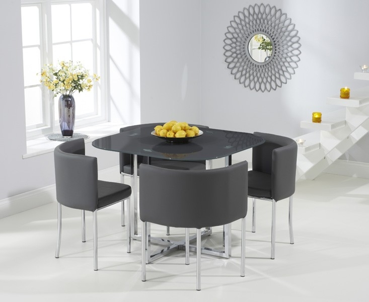 Abington Dining Table - Grey Glass and Chrome