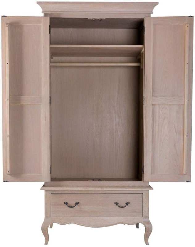 Camille Weathered Oak 2 Door 1 Drawer Wardrobe