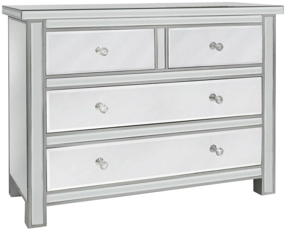 Paolo Mirrored 4 Drawer Chest with Crystal Handles